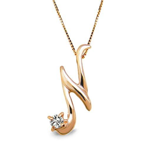 [ミワホウセキ] miwahouseki イニシャル N 選べる 誕生石 付き ピンクゴールド アルファベット ネックレス 4月 ダイヤモンド