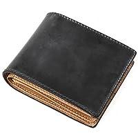 (ラファエロ) 一流の革職人が作る ブライドルレザーで製作したメンズ二つ折財布 (ロイヤルブラック)