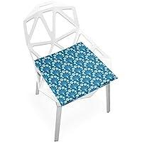 座布団 低反発 青い 花 ビロード 椅子用 オフィス 車 洗える 40x40 かわいい おしゃれ ファスナー ふわふわ fohoo 学校