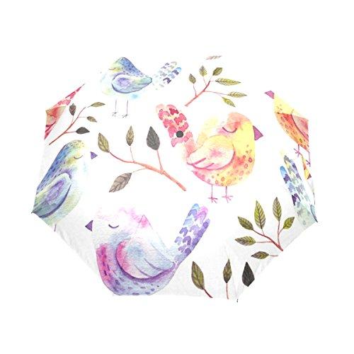 ユキオ(UKIO) 折りたたみ傘 レディース アンブレラ お洒落 可愛い鳥 撥水性 手動開閉 雨傘 鞄に常備 風に強い(耐風) 晴雨兼用 プレゼントに人気 8本骨 ファッション レディース 三つ折り傘 かさ