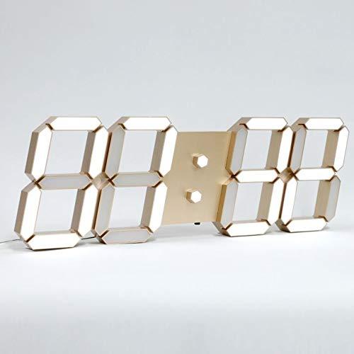 ROIRETNI スマートLEDデジタル壁掛け時計オリジナル版 - 明るさの自動調整、アラーム、タイマー、カレンダー、温度計、非振動、無騒音 - 1年保証 (ゴールド)