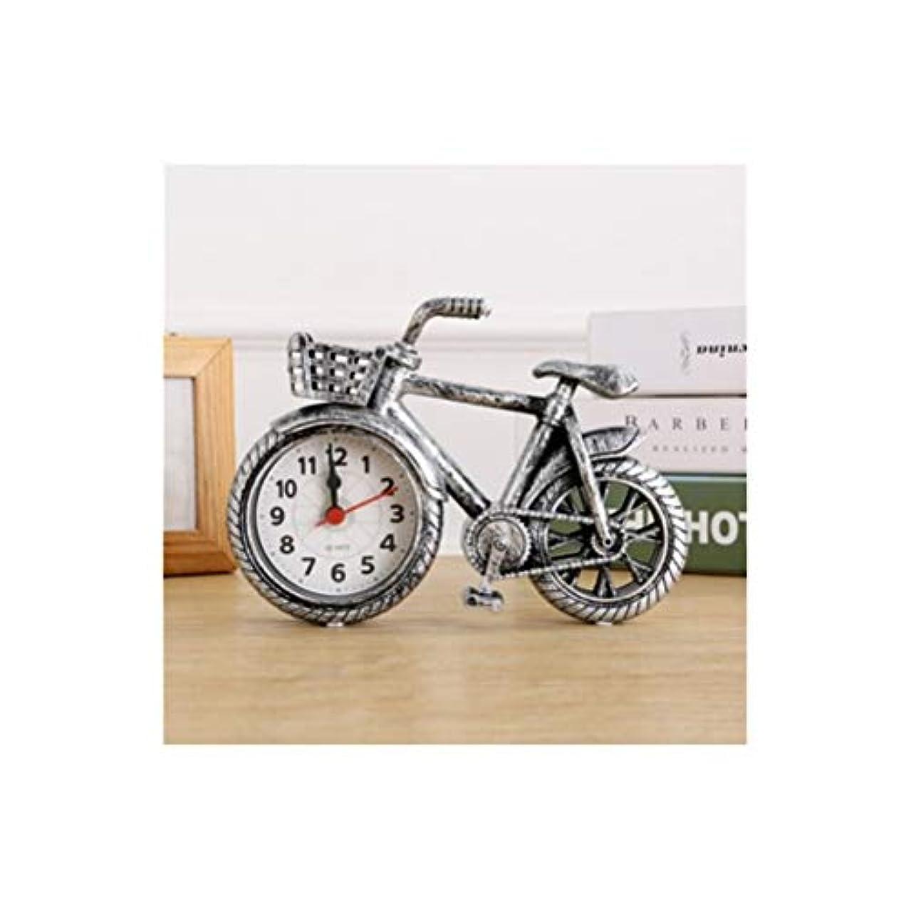 帆店員日付付きQiyuezhuangshi001 目覚まし時計、レトロなノスタルジックな自転車モデル人格目覚まし時計、クリエイティブ自転車時計テーブル、家の寝室の装飾装飾目覚まし時計、シルバー人格 材料の安全性 (Color : Silver)