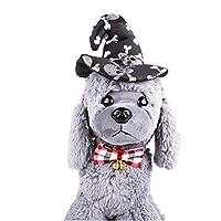 LilyAngel ハロウィーンの猫ウィッチハットペットの魔法使いの帽子猫&スモールドッグパーティーコスチュームコスプレアクセサリー (Color : ブラック, サイズ : Free size)