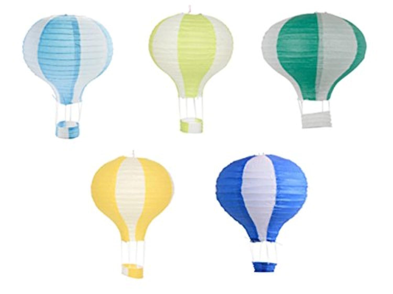 tokimeki19 ちょうちん 飾り 用 紙 提灯 led 祭り 熱気球型 (直径40cmx高さ50cm B)