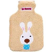 TT WARE 21x14cm Portable Hot Water Bottle Bag Creative Cute Cartoon Rabbit Hand Warmer-Brown