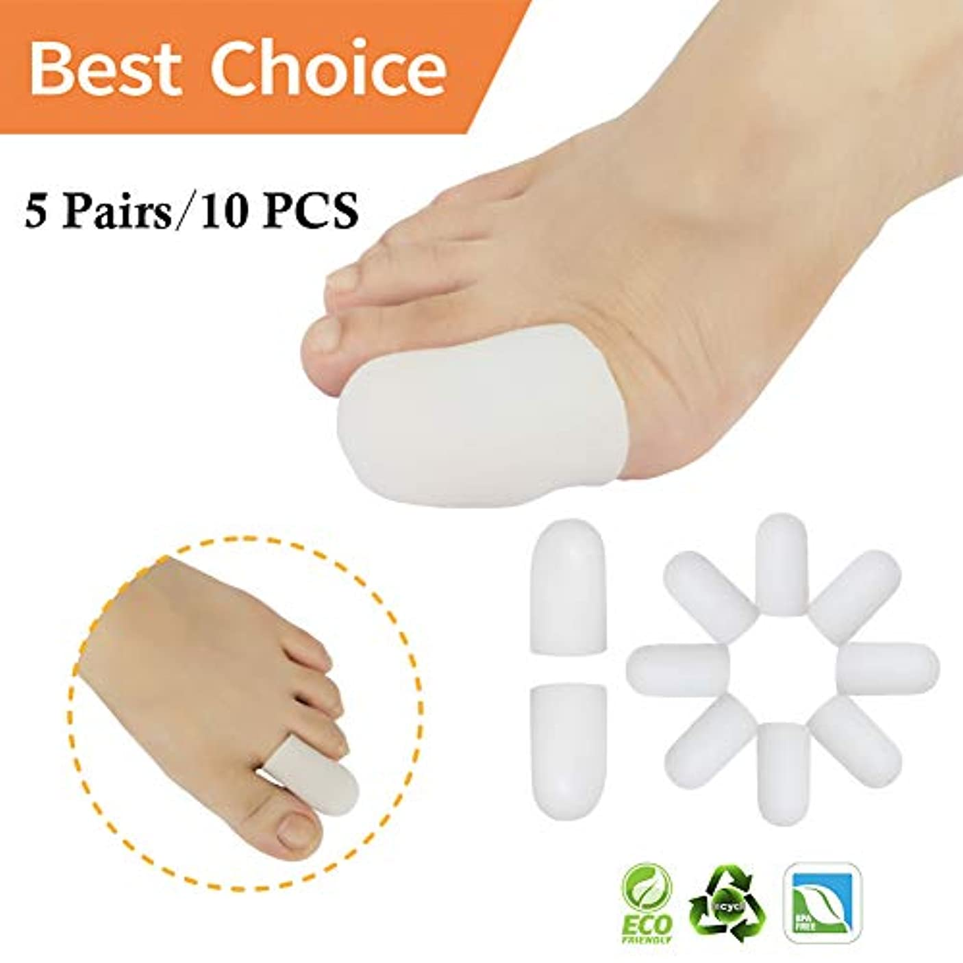Pnrskter ジェル 足指 キャップ プロテクター 水疱用、つま先保護摩擦疼痛緩和10個入り