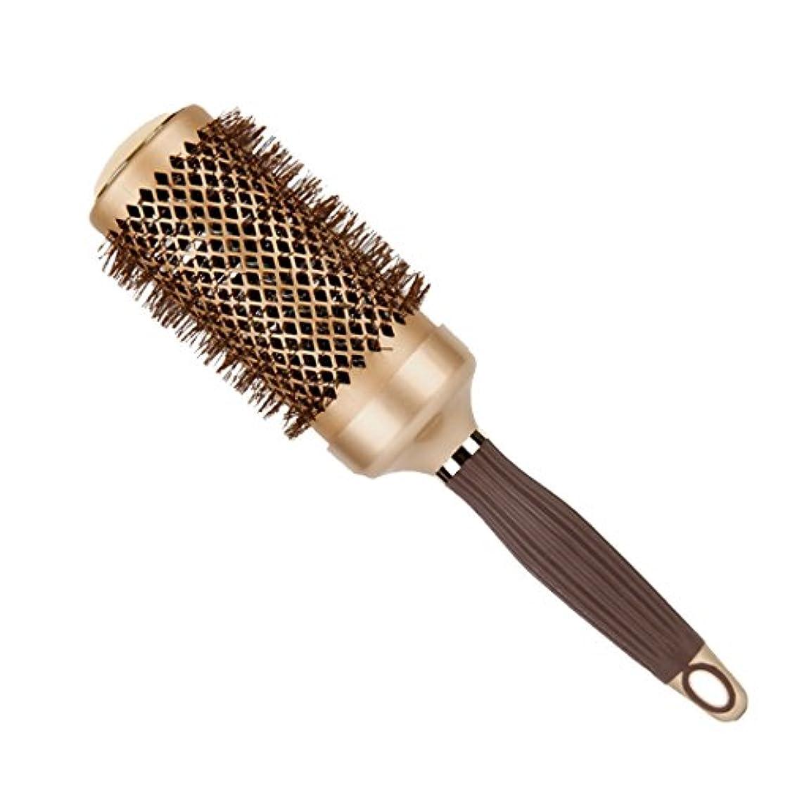 第四防止のためヘアブラシ メンズ レディース ロールブラシ ナイロン 耐熱 ゴージャス風 ゴールド カール 巻き髪に ブローブラシ 静電気防止 ヘアスタイリング 大きい ヘアーブラシ 美容師 ヘアケア ブラシ 美髪器具