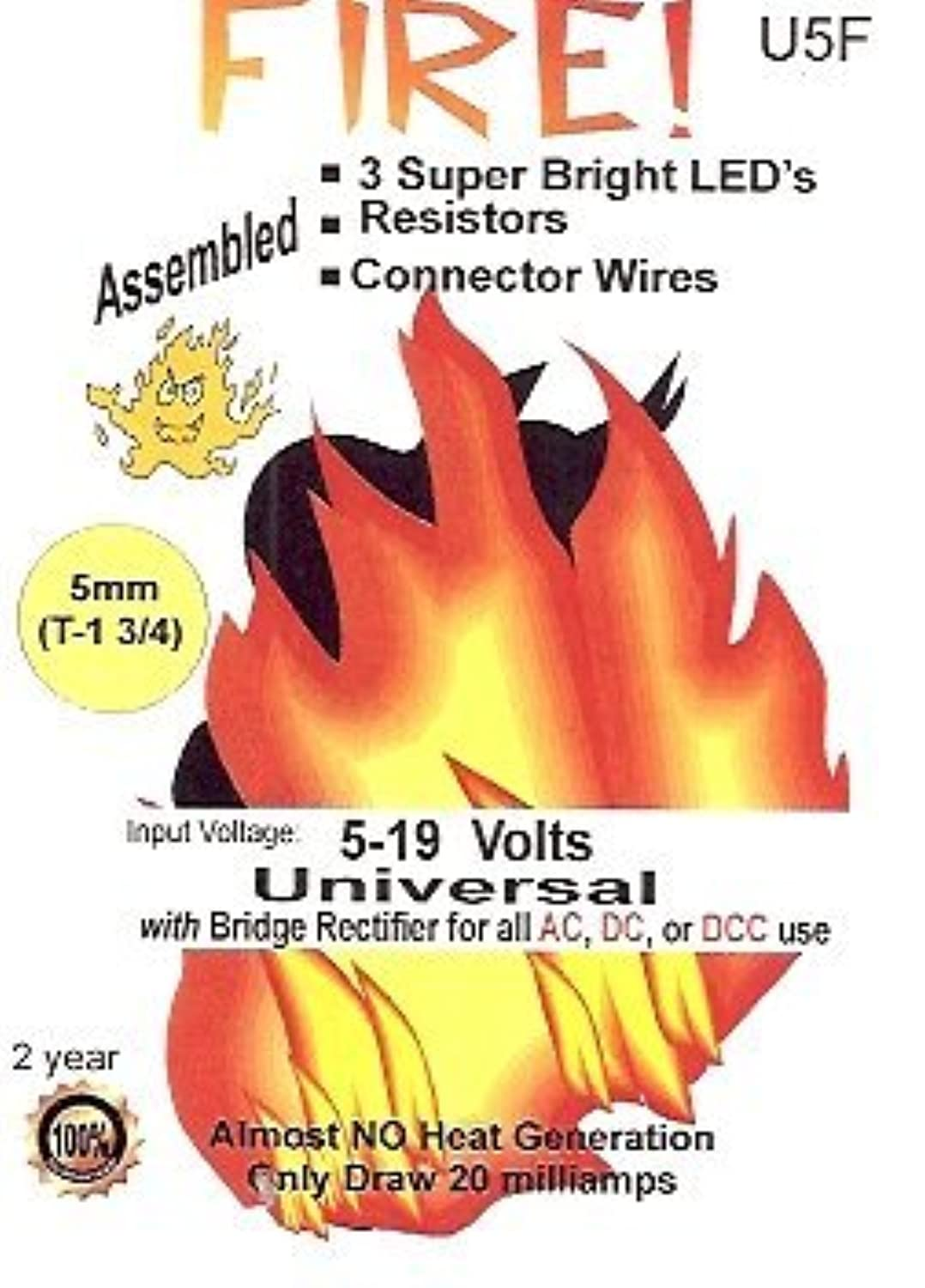 U5F Simulated model Fire 5mm LED Kit by Evan Designs
