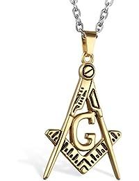 Flongo 金色 ステンレス ペンダント メンズ ロック ファション ネックレス アルファベット G 軽量 18g