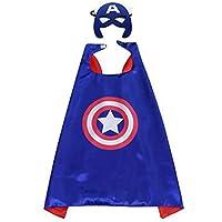 aehiboバットマンスパイダーマンキャプテンアメリカスーパーヒーローコスチュームドレスUp Withマスクコスプレ子供少年少女の キャプテン?アメリカ