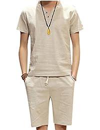 [アルファーフープ] メンズ Tシャツ 半袖 トップス ハーフ ショート パンツ 上下 セット アップ 無地 柄 部屋着 PP-3