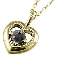 [スカイベル] ブラックダイヤ(黒ダイヤ) k18イエローゴールド ペンダント ネックレス ハート 一粒石 レディース