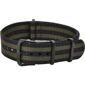 [カシス]CASSIS NATO TYPE BLACK ナトータイプ時計ベルト 18mm カーキ ブラック尾錠 ナイロン素材 #141.601B 173 018