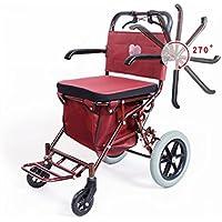 高齢者のカートは、車で移動することができますポータブル四輪スクーター折り畳み食器のバスケットのトレーラーは、高齢者の買い物のための食品を購入する
