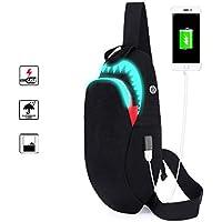 Luminous Chest Bag Fanny Pack with USB Charging Port, Shark Crossbody Shoulder Bag for Men Women
