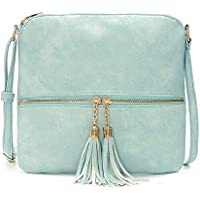 DukeTea Medium Crossbody Bags for Women, Tassel Crossover Purse for Teen Girls Handbag Gift