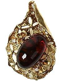 ブルーアンバーを彷彿 メキシコ産琥珀 ブローチ ネックレス ペンダントトップ チェリーレッドアンバー 赤色 楕円 お花 ダイヤモンド カボッション チェーン別売り 商品番号 824