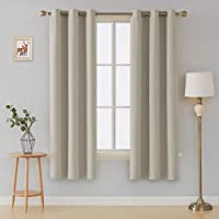 (110cm x 210cm , Light Beige) - Deconovo Room Darkening Thermal Insulated Blackout Grommet Top Window Curtain Panels for Living Room Light Beige 110cm x 210cm 1 Pair