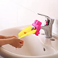Yiteng 手洗いサポー ベビ手洗い補助 洗面所パーツ 蛇口 延長 子ども用 手洗い ウォーターガイド カエル型 ピンク