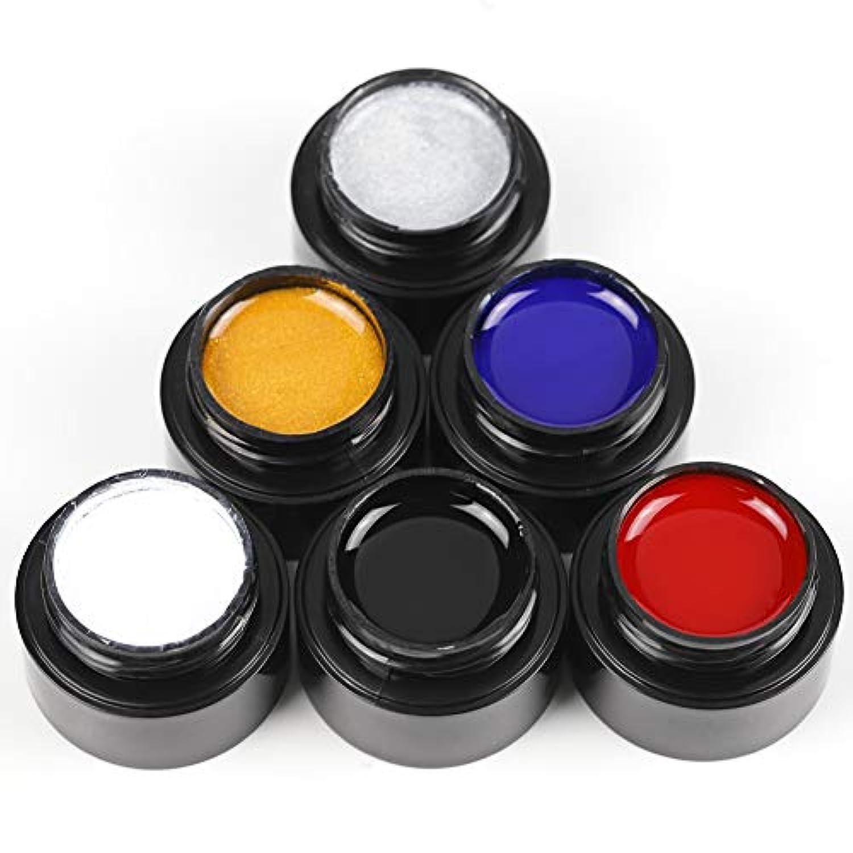 港ボートセブンTwinkle Store ライナージェル 5ml 6ボトルセット 6色入り カラージェル ジェルネイルカラー UV/LED 适用 ネイルアートジェル