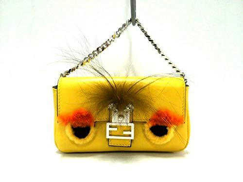 (フェンディ) FENDI ハンドバッグ モンスターマイクロバゲット イエロー×黒×オレンジ 8M0354 【中古】