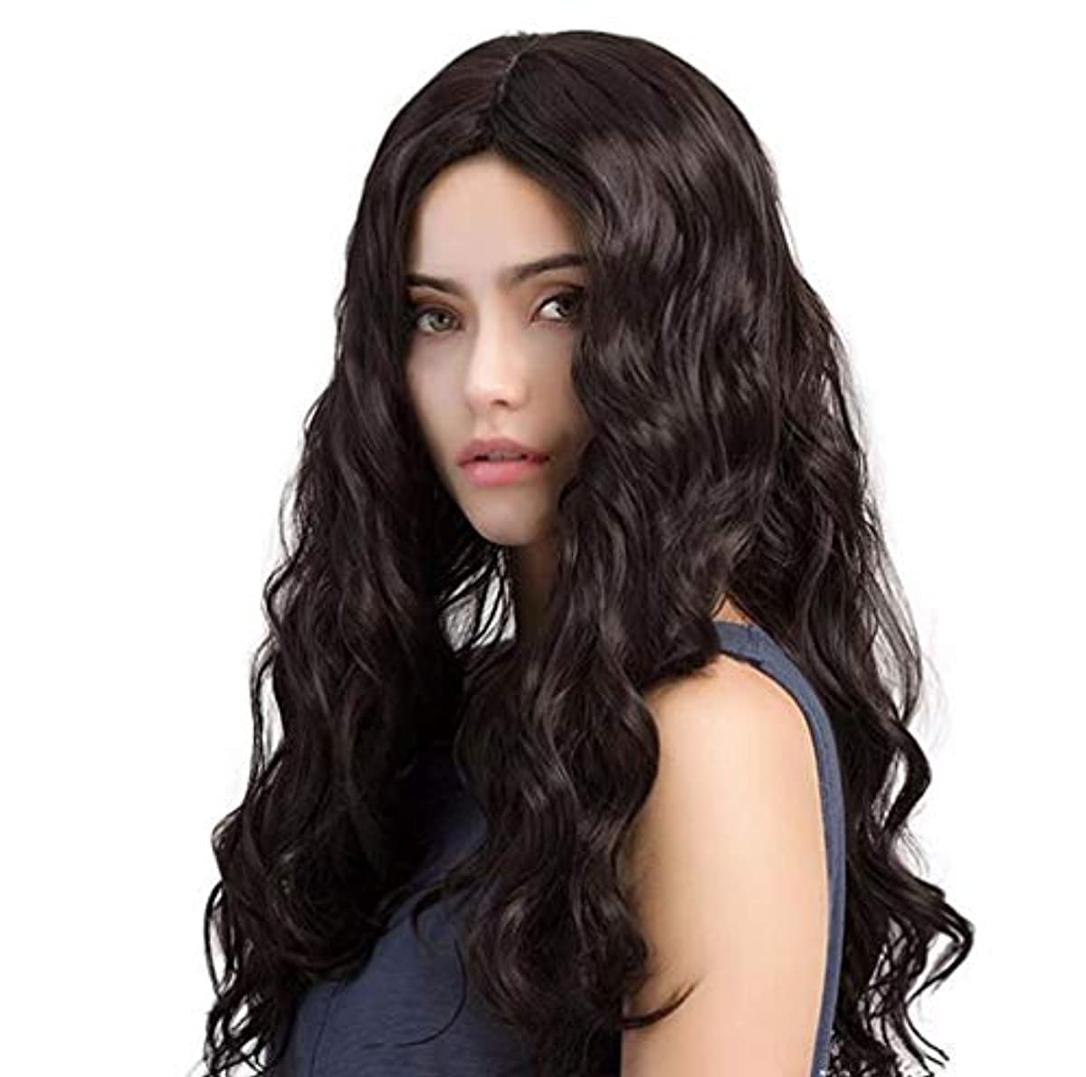 バッチウェイトレスキャラクター女性ウィッグ人毛合成ロングウェーブウィッグ合成耐熱性安いミドルパートウィッグブラック150%高密度