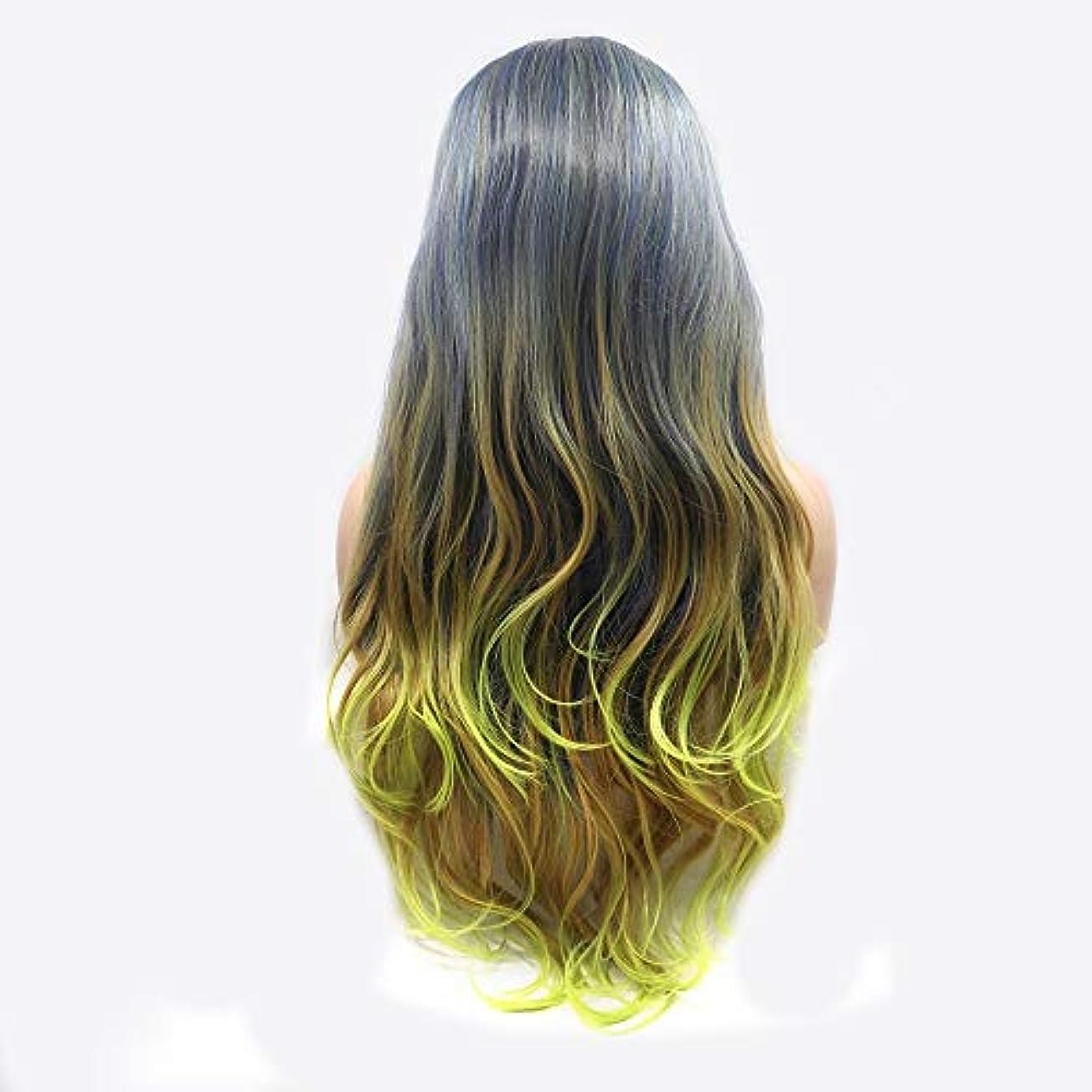 壊すスリット湿ったヘアピース 中間の長い髪の巻き毛のかつらレディース手作りレースヨーロッパとアメリカのかつらセットでホットグレーグリーンイオン