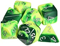 Polyhedral 7-Die Gemini Chessex Dice Set - Green and Yellow with Silver CHX-26454