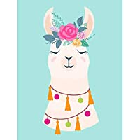 Llama Cute Floral Art Print Poster Wall Decor 12X16 Inch 可愛いポスター壁デコ