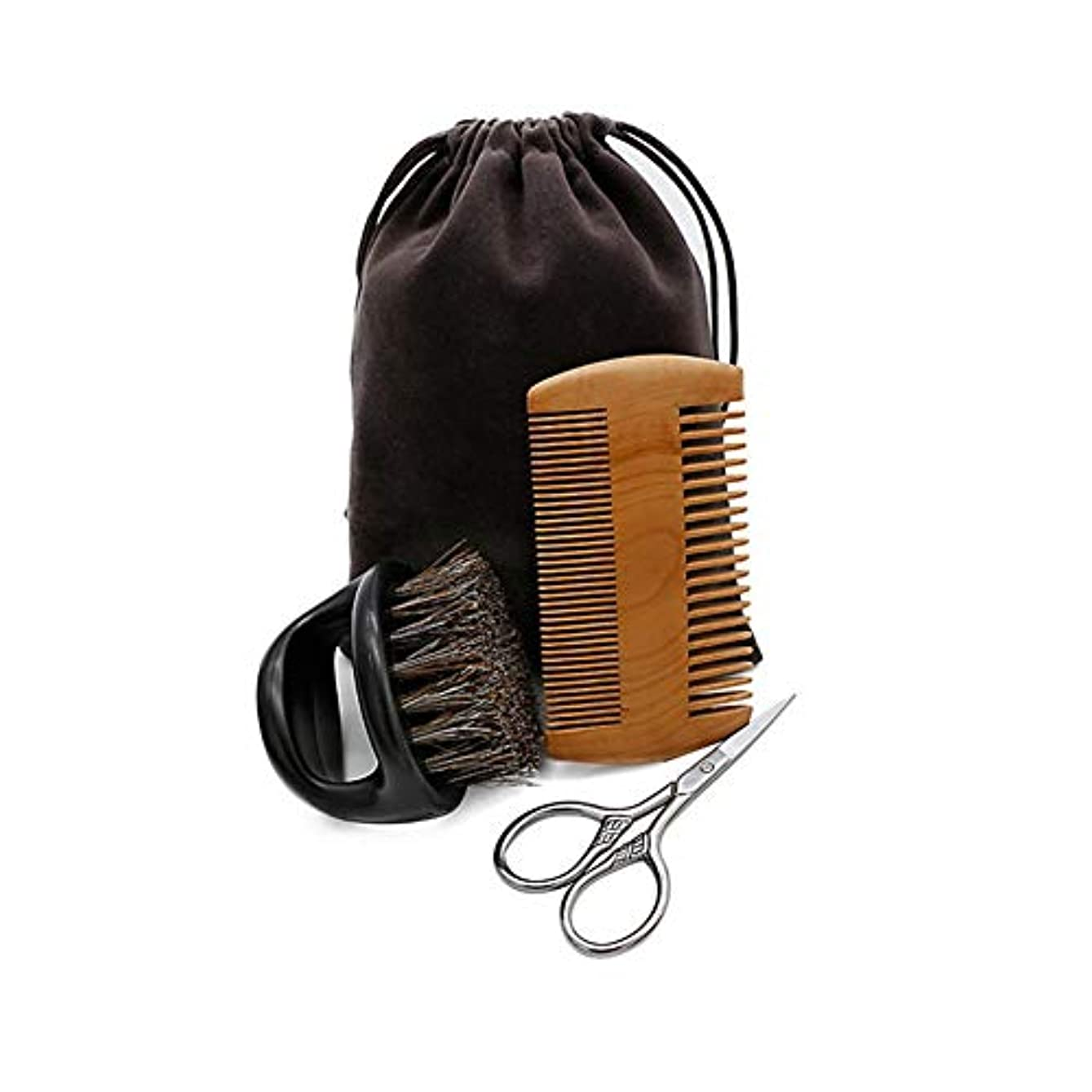 休憩する肉屋順応性のあるjunexi ビアードケアセット 3件セット ひげブラシ ピーチ木製櫛 はさみ 柔らかい 使いやすい メンズ髭手入れセット 収納袋付き 携帯便利 ヘアブラシセット