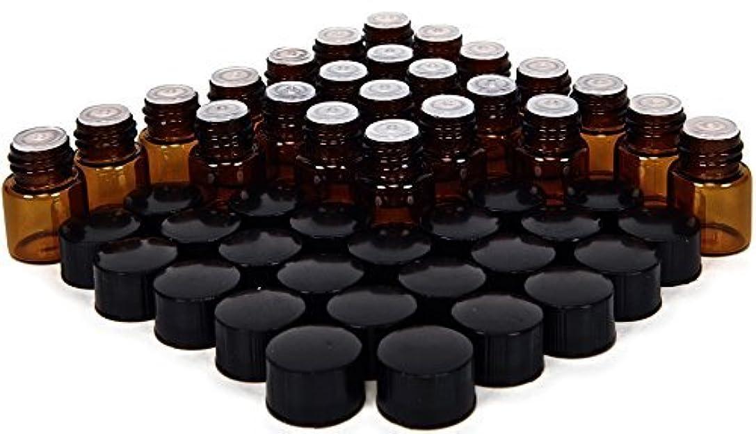 お勧め無謀初期の24, Amber, 1 ml (1/4 Dram) Glass Bottles, with Orifice Reducers and Black Caps [並行輸入品]