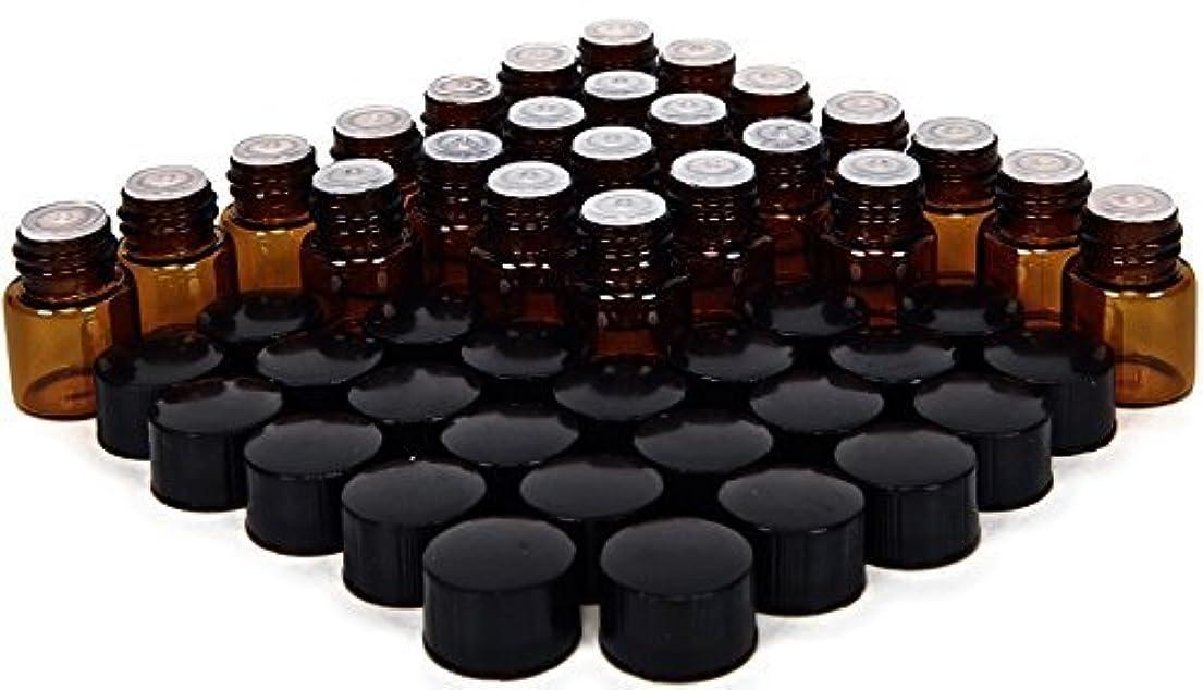 受け取る満足させる空気24, Amber, 1 ml (1/4 Dram) Glass Bottles, with Orifice Reducers and Black Caps [並行輸入品]