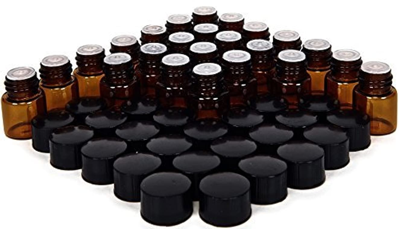 然とした貢献するこっそり24, Amber, 1 ml (1/4 Dram) Glass Bottles, with Orifice Reducers and Black Caps [並行輸入品]