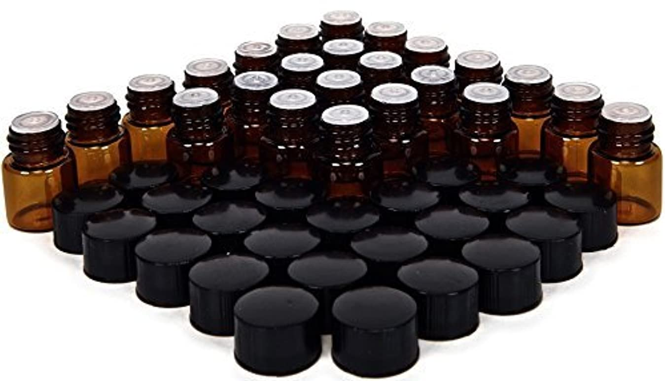 24, Amber, 1 ml (1/4 Dram) Glass Bottles, with Orifice Reducers and Black Caps [並行輸入品]