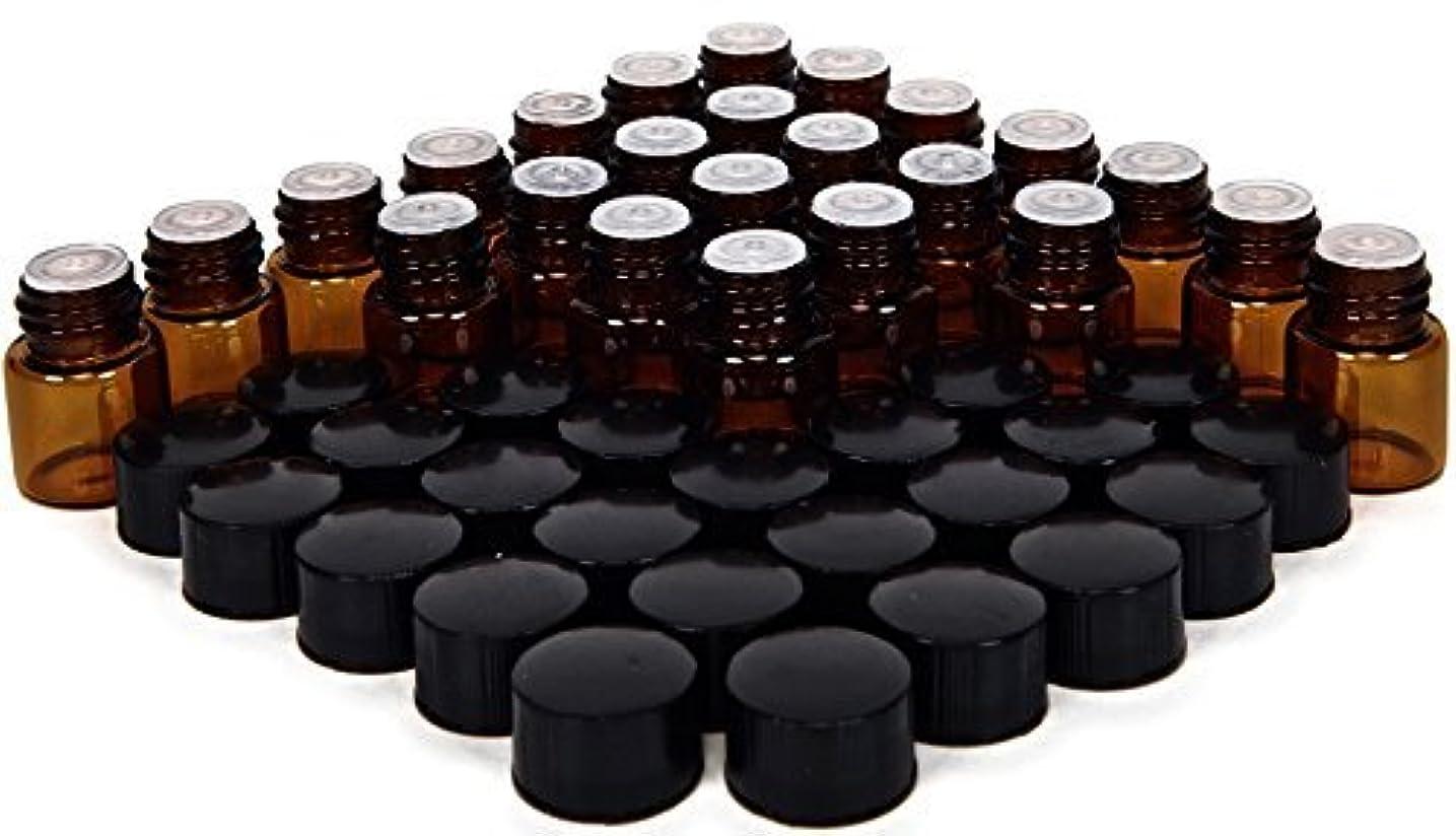 インシデント兄三24, Amber, 1 ml (1/4 Dram) Glass Bottles, with Orifice Reducers and Black Caps [並行輸入品]