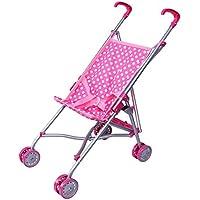 [プレシャストイズ]Precious toys Pink and White Polka Dots Umbrella Doll Stroller with Hot Pink Handles and Silver Frame 0128B [並行輸入品]