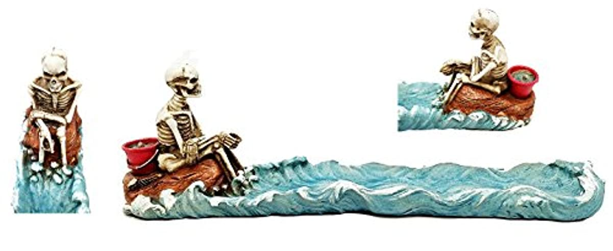 発生器バリア科学者Cast AwayスケルトンStranded on島釣りの魚香炉置物
