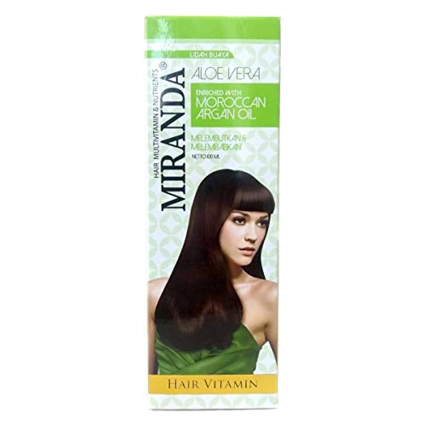 不透明な今後早くMIRANDA ミランダ Hair Vitamin ヘアビタミン モロッカンアルガンオイル主成分の洗い流さないヘアトリートメント プッシュボトル 100ml Aloe vera アロエベラ [海外直送品]