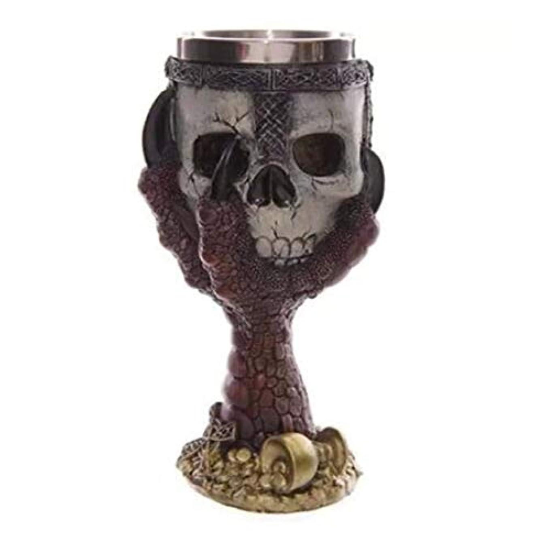 Saikogoods カップを飲むクリエイティブステンレス鋼3Dスカルゴブレットビールジョッキ 銀 赤い爪ゴブレット