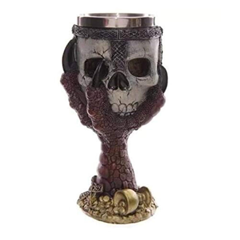 れんが船外染色Saikogoods カップを飲むクリエイティブステンレス鋼3Dスカルゴブレットビールジョッキ 銀 赤い爪ゴブレット