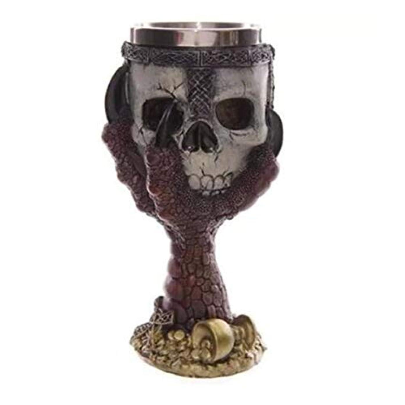 あご器用免除するSaikogoods カップを飲むクリエイティブステンレス鋼3Dスカルゴブレットビールジョッキ 銀 赤い爪ゴブレット