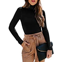 REORIA Women's Long Sleeve Ribbed Turtleneck Leotard Stretchy Bodysuit Tops Jumpsuits