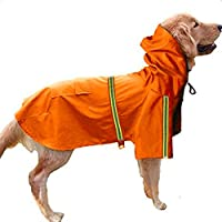 Doppelt 犬のレインコート 犬用 雨具 ファッション プリティー 可愛い 防寒 防水 防雪 シンプルなスタイル ポケットと帽子と反射ストリップ付き 着せやすい お手入れ簡単 梅雨対策 (S, オレンジ)