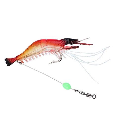 Proster 5PCS 90cm/7g Prawn Shrimp Fishing Lures Soft Plastic Baits Lure with Hook Tackle Prawn Shrimp Flathead Bream Cod Bass Lure
