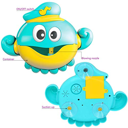 PBOX Octopus Bubble Machine Bath Toy,Automatic Bathtub Bubble Maker,Musical Baby Showers Bubble Toy for Toddler Kids Boys and Girls Aged 1 2 3 4 5 6 Gift