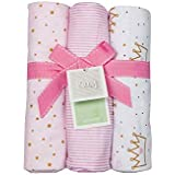 Playette Flannel Blanket 3-Piece Set, Pink, 3 Count