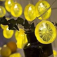 家の照明 カーテンストライプライトレモンスライス装飾的なライトストリングスターネットレッドライトインスタイル部屋の装飾フェアリーランプバンド結婚式のクリスマスの家の装飾 (イエロー3m20灯 電池)