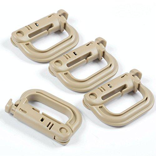 DYZD高強度軽量プラスチック Dリング MOLLE ウェビング グリムロック 10個セット(カーキ)