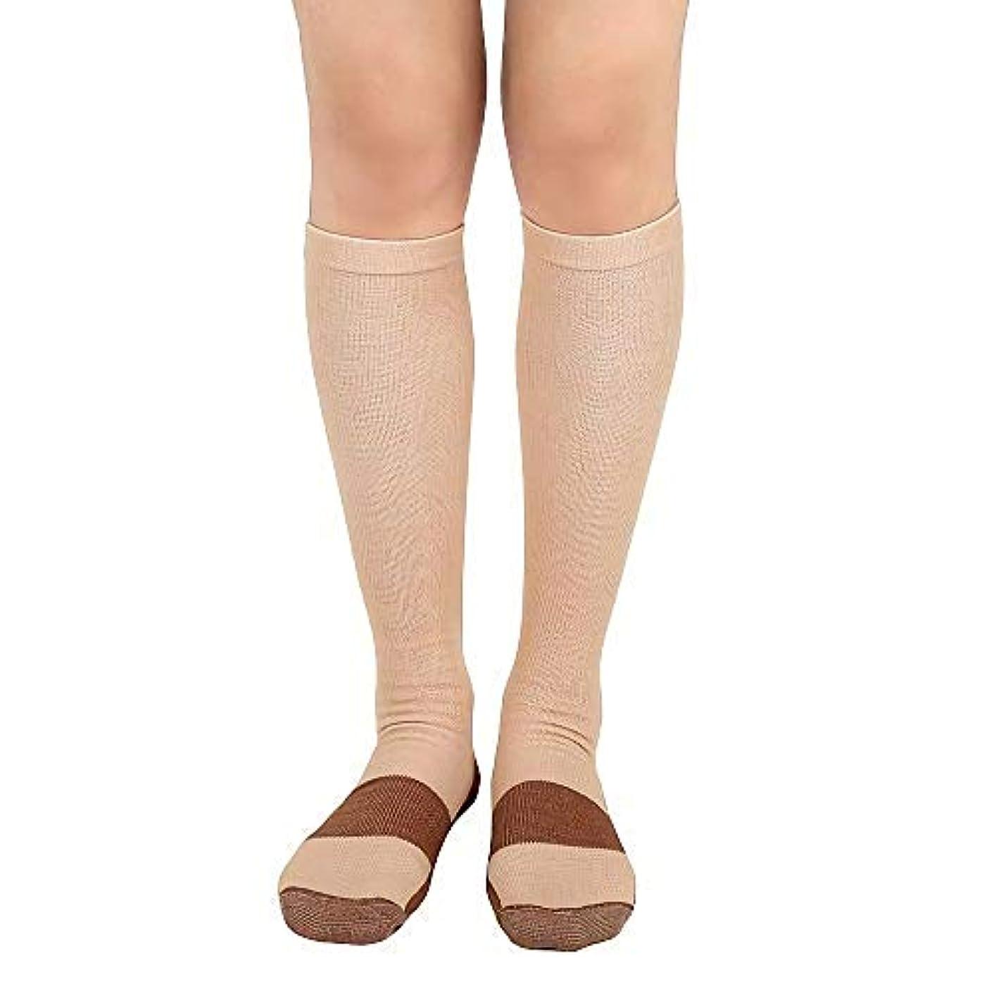 右サポートシンク着圧ソックス 銅圧縮 コンプレッションソックス 膝下 抗疲労 男女兼用ユニセックス (L/XL, 肌色)