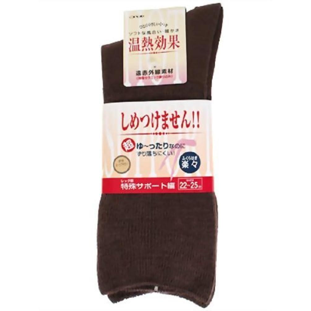 色合い解釈的逆説楽らくソックス婦人用秋冬用 22~25cm ダークブラウン